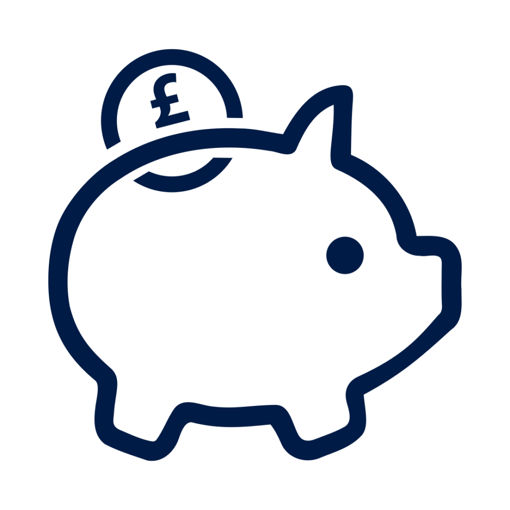 Transparent pig with GBP coin